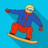L'atleta con la giacca blu ed i pantaloni rossi su uno snowboard Snowboarder ai Olympics Gli sport olimpici scelgono l'icona dent illustrazione vettoriale
