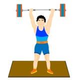 L'atleta dell'uomo alza il bilanciere Fotografia Stock