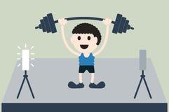 L'atleta di sollevamento pesi è vittoria Fotografia Stock