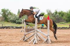 L'atleta esegue un salto su un cavallo attraverso la barriera sulla concorrenza di salto immagini stock libere da diritti