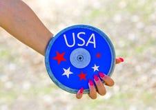 L'atletica, U.S.A. sta preparando per il lancio del disco fotografie stock libere da diritti