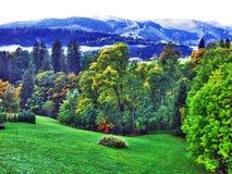 L'atmosphère d'automne sur des pâturages et des collines dans le Thur River Valley photos libres de droits