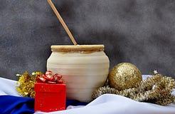 L'atmosphère de Noël sur l'or Photo stock