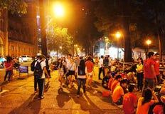 L'atmosphère serrée, mode de vie de la jeunesse de Ho Chi Minh Photographie stock libre de droits