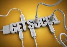 L'attache de câbles et de prises d'ordinateur au titre des textes 3d deviennent sociale Image stock