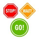 L'attente d'arrêt vont signe Image stock