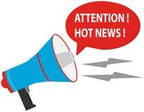 L'attention est des actualités chaudes Haut-parleur sur un fond blanc avec un message d'un rouge ardent d'actualités illustration libre de droits