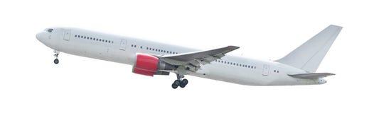 L'atterrissage de l'avion blanc a isolé le fond pour l'usin universel Images libres de droits