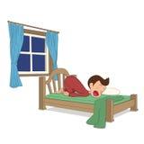L'attività del bambino Un sonno del ragazzo nel letto Immagine Stock