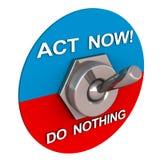 L'atto ora contro non fa niente Fotografie Stock Libere da Diritti