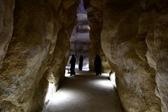 L'attraction pour beaucoup de touristes est Al Qarah Mountain dans la terre de la civilisation sur l'Arabie Saoudite photo stock