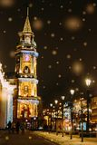 L'attrazione di St Petersburg, le sedi che costruiscono, illuminazione di notte Fotografia Stock Libera da Diritti