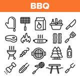 L'attrezzatura del BBQ, foggia l'insieme lineare delle icone di vettore illustrazione di stock