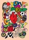 L'attrezzatura di sport disegnata a mano di scarabocchio, linea dell'illustratore foggia il disegno Fotografia Stock