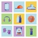 L'attrezzatura per l'estate si rilassa Insieme di elementi di sport illustrazione vettoriale