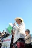 L'attrice Ofelia Medina parla durante la protesta Fotografie Stock