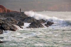 L'aube de la pêche Images libres de droits
