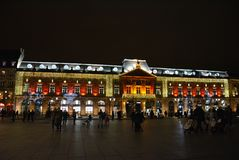 L`Aubette christmas lights, Place Kléber Royalty Free Stock Photography