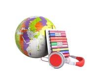 L'audio de globe de whith d'E-boock apprenant les langues 3d ne rendent aucune ombre Photographie stock