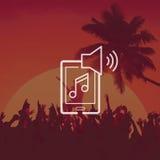 L'audio de voie d'album de musique de Playlist écoutent concept de son stéréo illustration de vecteur