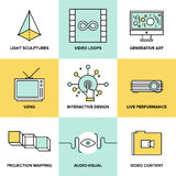 L'audio e l'arte visiva progettano le icone piane Immagini Stock Libere da Diritti