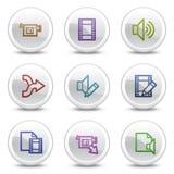 L'audio video stampa le icone di colore di Web, tasti del cerchio Immagine Stock Libera da Diritti
