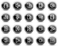 L'audio video stampa le icone di Web, tasti neri del cerchio Fotografie Stock Libere da Diritti