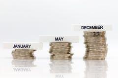 L'augmentation de la quantité chaque mois Utilisation d'image pour l'épargne qui résultent du travail, concept d'affaires Image stock