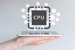 L'aumento della prestazione di potere del CPU per i dispositivi di computazione mobile gradisce lo Smart Phone Immagine Stock