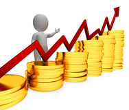 L'aumento delle monete rappresenta la rappresentazione di Person And Advance 3d di affari Fotografia Stock Libera da Diritti