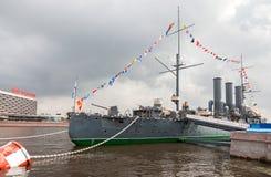 L'aurora rivoluzionaria leggendaria dell'incrociatore al posto di etern Fotografia Stock