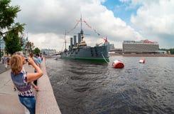 L'aurora rivoluzionaria leggendaria dell'incrociatore al posto di etern Fotografia Stock Libera da Diritti