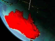 L'Australia alla notte su terra Fotografia Stock