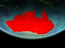 L'Australia alla notte su terra Fotografia Stock Libera da Diritti