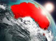 L'Australia da spazio durante l'alba Immagini Stock Libere da Diritti