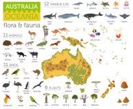 L'Australia e la flora e la fauna di Oceania tracciano, elementi piani animale illustrazione di stock