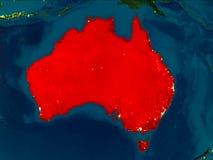 L'Australia nel rosso alla notte Immagini Stock