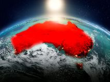 L'Australia nell'alba dall'orbita Fotografia Stock Libera da Diritti