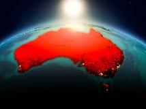 L'Australia nell'alba dall'orbita Fotografie Stock
