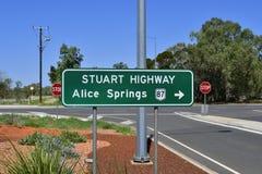 L'Australia, NT, Alice Springs, Stuart Highway fotografia stock
