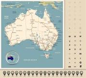 L'Australia - programma di strada editabile altamente dettagliato Fotografia Stock Libera da Diritti