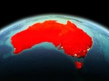 L'Australia su pianeta Terra nello spazio Fotografie Stock Libere da Diritti