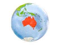L'Australia sul globo isolato Immagine Stock