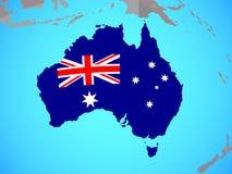 L'Australie avec le drapeau sur la carte illustration stock