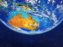 L'Australie de l'espace sur le modèle de la terre de planète avec des frontières de pays Détail extrêmement fin de la surface et  illustration stock