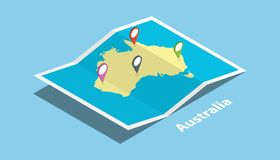 L'Australie explorent la nation de pays de cartes avec le style isométrique et goupillent l'étiquette d'emplacement sur le dessus Image stock