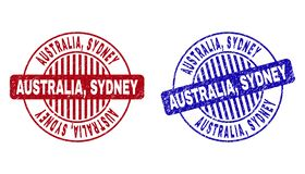 L'AUSTRALIE grunge, SYDNEY Scratched Round Stamp Seals illustration libre de droits