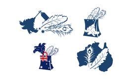 L'Australien a épousseté l'ensemble superbe de magasin de plume illustration stock