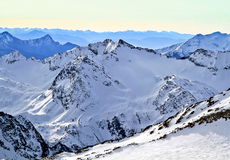 L'Austria, alpi, stazione sciistica di Neustift, ghiacciaio Stubai l'altezza di 3210m Fotografia Stock