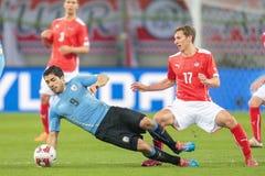 L'Austria contro il Belgio l'uruguai fotografie stock libere da diritti